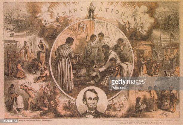 Illustration of the past and future of black people from slavery to freedom with portrait head of Abraham Lincoln circa 1860