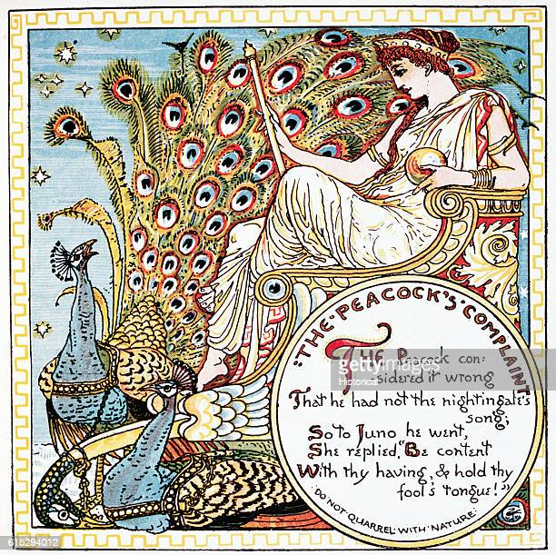Illustration of 'The Peacock's Complaint' From Walter Crane's Baby's Own Aesop