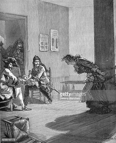 Illustration of the policy of Dragonnades which was instituted to harrass and intimidate French Protestant families to reconvert to Roman Catholicism...