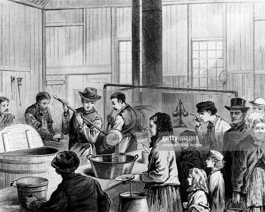 Illustration Of The Poor Being Fed In A Soup Kitchen In