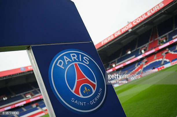 Illustration of the PSG logo during the French Ligue 1 match between Paris Saint Germain PSG and OGC Nice at Parc des Princes on April 2 2016 in...