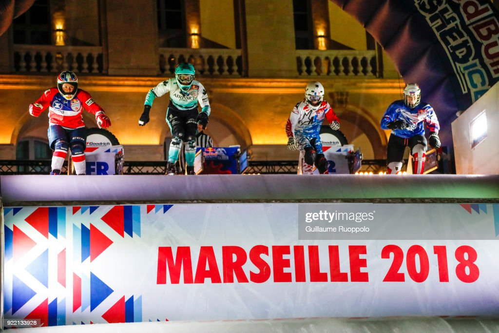Illustration of the Red Bull Crashed Ice Marseille 2018 on February 17, 2018 in Marseille, France.