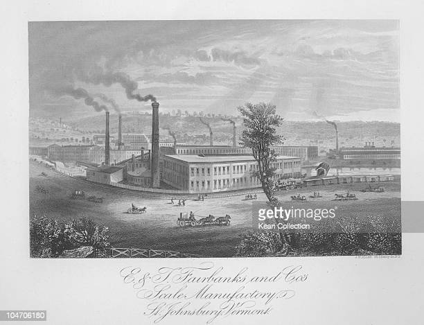 Illustration of the scales factory of E and T Fairbanks Company in St Johnsbury Vermont circa 1850