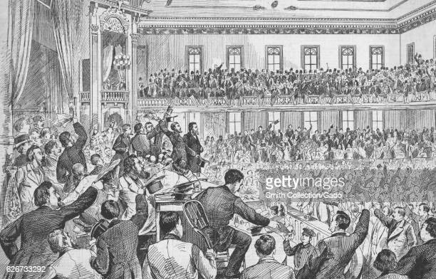 Illustration of the second day of the democratic state convention in Tweedle Hall Albany New York 1877