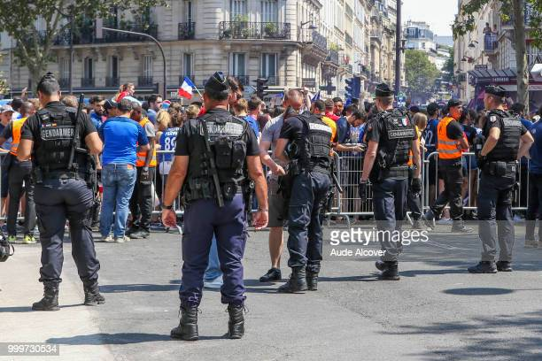 Illustration of the security of Champs de Mars during the FIFA World Cup final match between France and Croatia at Fan Zone at Champ de Mars on July...