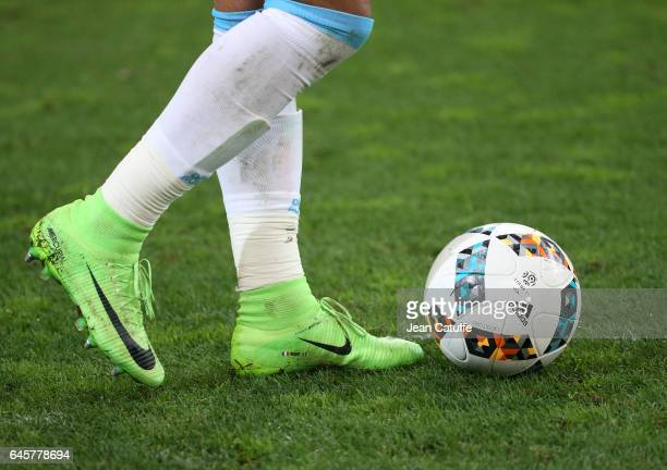 Illustration of the shoes of Dimitri Payet of OM and Adidas ball during the French Ligue 1 match between Olympique de Marseille and Paris Saint...