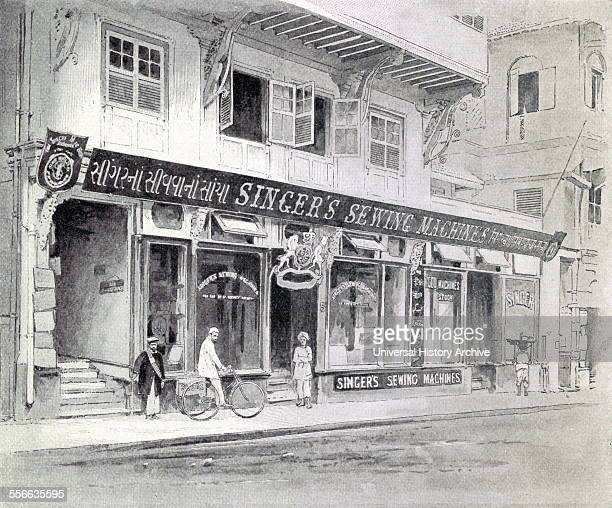 Illustration of the Singer Sewing Machine Office in Bombay India By Carrie Syphax Watson Dated 1897