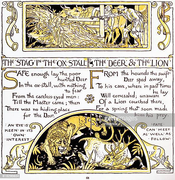 Illustration of 'The Stag in the Ox Stall' and 'The Deer and the Lion' From Walter Crane's Baby's Own Aesop