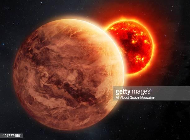 Illustration of the Super Venus planet known as Kepler-69c, orbiting the star Kepler-69, created on January 8, 2016.