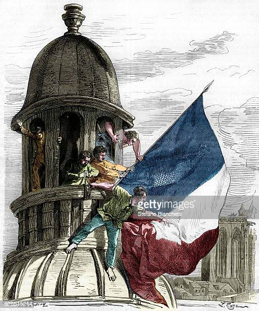 Illustration of the Tricolor Flag Being Waved During the French Revolution of 1830 by Jules Pelcoq