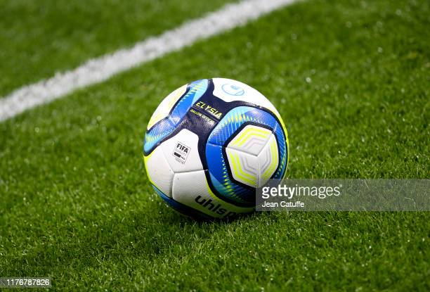 Illustration of the uhlsport Elysia official matchball during the Ligue 1 match between Olympique Lyonnais and Paris Saint-Germain on September 22,...