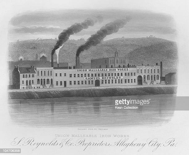 Illustration of the Union Malleable iron works owned by Samuel Reynolds in Allegheny City Pennsylvania circa 1870