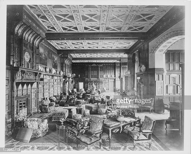 Illustration of the Victorian Age interior at Eaton Hall Library a country house in Cheshire England