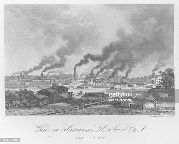 Illustration of the Whitney glass works in Glassboro New Jersey circa 1850
