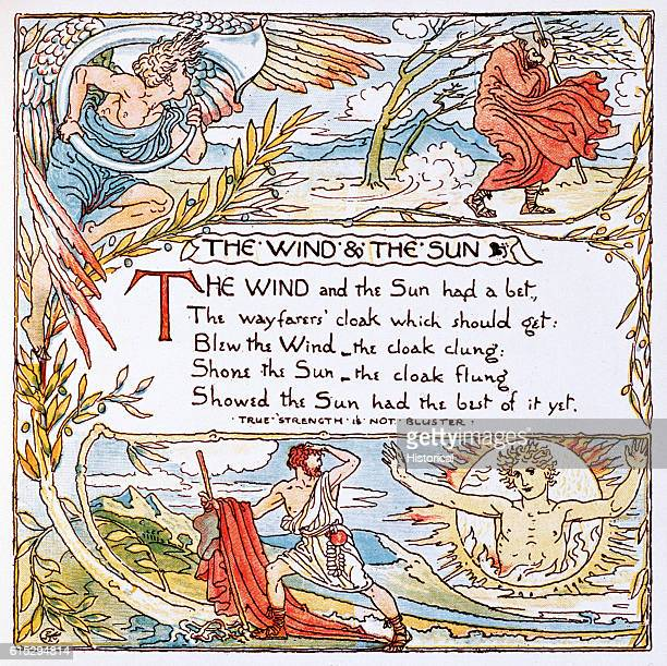 Illustration of 'The Wind and the Sun' From Walter Crane's Baby's Own Aesop