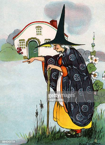 Illustration of the witch casting a spell from the German children's fairy tale Hansel and Gretel 1916 Lithograph