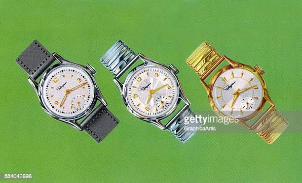 Illustration of three retro men's watches 1958 Screen print