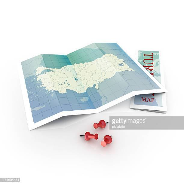 Illustration of Turkey map with pins on white background