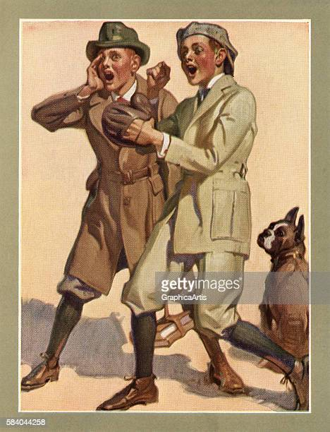 Illustration of two boys dressed in suits and knickers playing street baseball on the way home from school 1922 Screen print