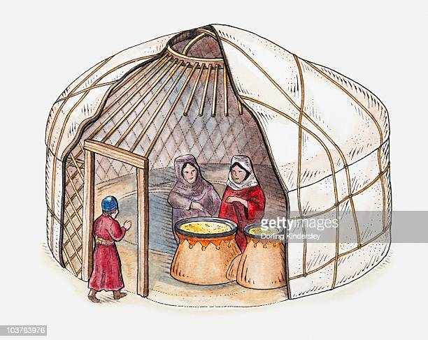 illustration of two women inside mongol yurt and child walking through entrance - yurt stock pictures, royalty-free photos & images