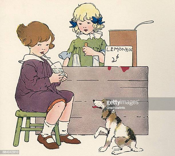 Illustration of two young girls selling lemonade at their roadside stand along with their pet dog 1918 Lithograph