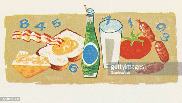 Illustration of various foods and their calory counts 1957 Screen print