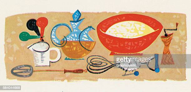 Illustration of various utensils used for cooking and baking, 1957. Screen print.