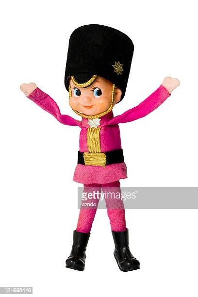 Illustration of vintage Christmas little drummer boy in pink
