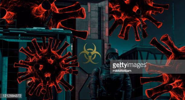 illustration of virus hunting a city under lockdown at night - fascism stock pictures, royalty-free photos & images