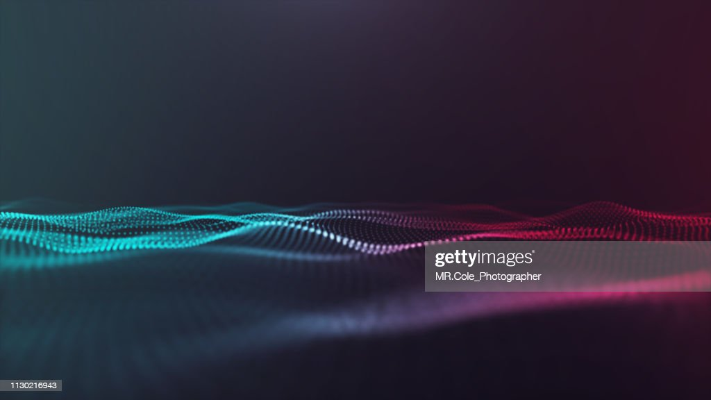 illustration of Wave particles Futuristic digital Abstract background for Science and technology : Stock Photo