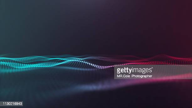 illustration of wave particles futuristic digital abstract background for science and technology - hud graphical user interface stock photos and pictures