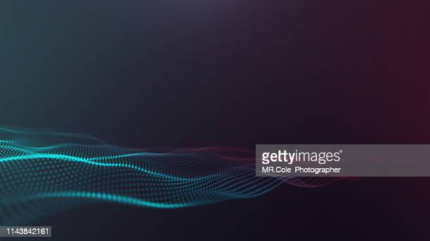 illustration of wave particles futuristic digital abstract background for science and technolog - hud graphical user interface stock photos and pictures