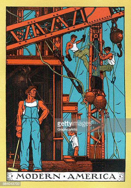 Illustration of wellmuscled iron workers on a construction site as an idealized allegory of the American 'Modern Industrial Age' 1930 Lithograph