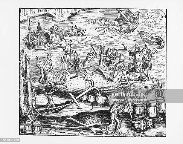 Illustration of Whale Hunting after a 16thCentury Woodcut