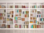 illustration of White bookshelves