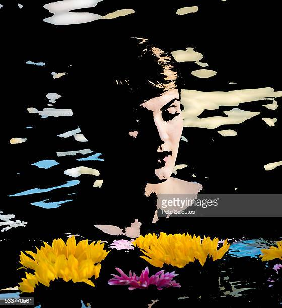 Illustration of woman in lake with flowers