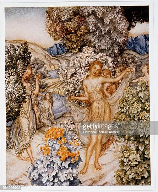 Illustration of Women in Flowery Garden by Arthur Rackham from The Tempest by William Shakespeare