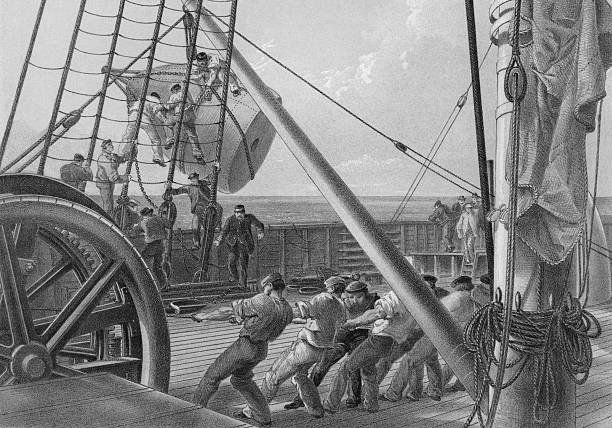 Illustration of workers getting out one of the large...