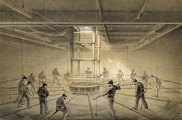Illustration of workers on board the Great Eastern...