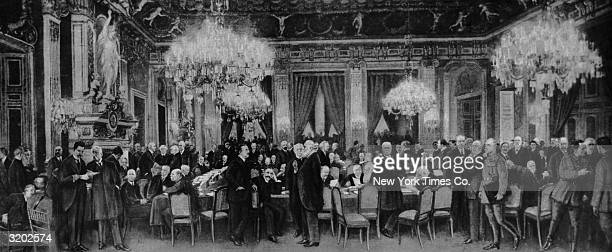 Illustration of world diplomats congregating beneath ornate chandeliers in the foyer and cloak room of the Palace of Versailles France Paris Peace...