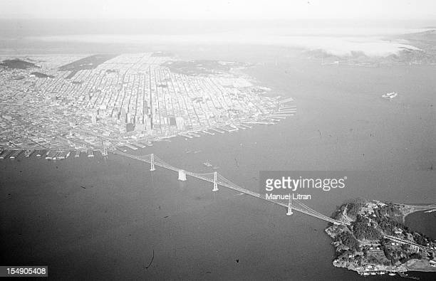 Aerial view of the San Francisco Bay with the foreground 'Bay Bridge' the bridge connecting the city Oakland and Berkley Basically the suspension...