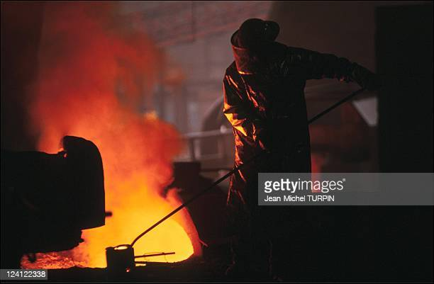 Illustration on Steel Industry in Dunkirk France in October 1991 Sollac factory in Dunkirk sampling