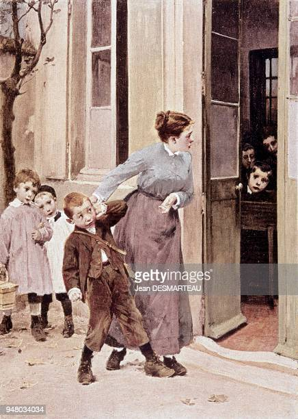 Illustration on the obligation of going to primary school following the vote on the law of 28 March 1882 put forward by the minister Jules FERRY for...