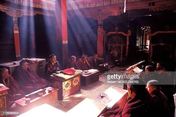 Illustration on Tibet In China In 1996-Tsurpu monastery.