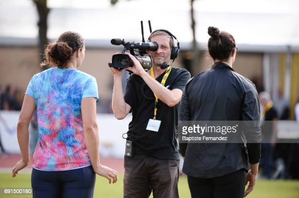 Illustration picture of a cameraman of SFR Sport during the meeting of Montreuil on June 1 2017 in Montreuil France
