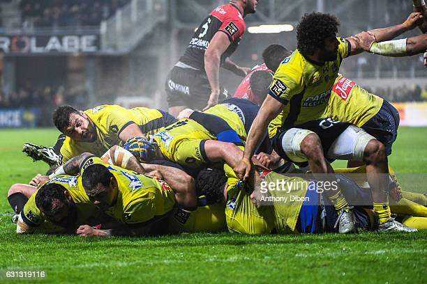 Illustration picture of a ruck during the Top 14 match between Clermont Auvergne and RC Toulon on January 8 2017 in ClermontFerrand France