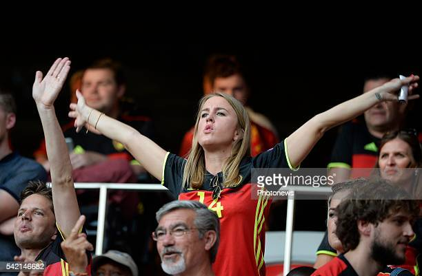illustration picture of Belgian fans and Katrin Kerkhofs wife of Dries Mertens forward of Belgiumduring the UEFA EURO 2016 phase final group E match...