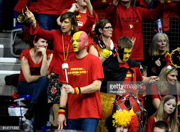Illustration picture of Belgian fans in the stand during David Goffin of Belgium vs Fucsovics Marton pictured during the Davis Cup World Group first...