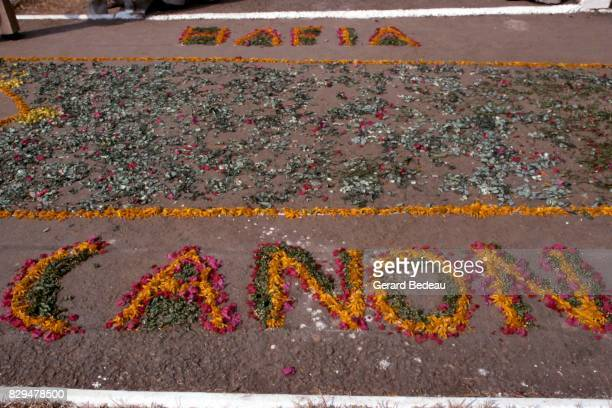 Illustration picture of both name team write with flowers on the ground during the 1978 African Champions Clubs Cup final match between Canon de...