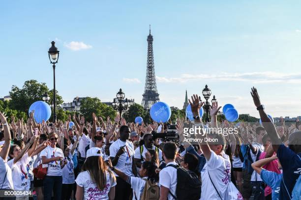 Illustration picture of eiffel tower during the Olympic Day Paris Olympic Park comes to life for Olympic Day on June 24 2017 in Paris France
